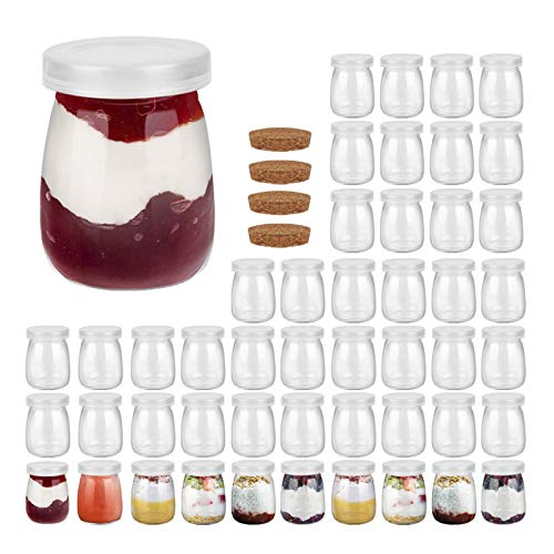 FRUITEAM 4 oz (48-Pack) Clear Glass Pudding Jars with PE Lids, Glass Containers with Caps for Yogurt, Milk, Jam, Jellies, Honey, Spices Mousse and More