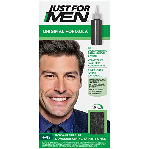 Just for Men Tinte para el cabello de fórmula original de color marrón oscuro que restaura el color original para un aspecto natural. H45.