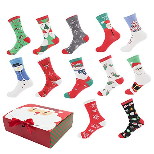 Christmas Holiday 12-Pack Gift Socks with Gift Box Warm...