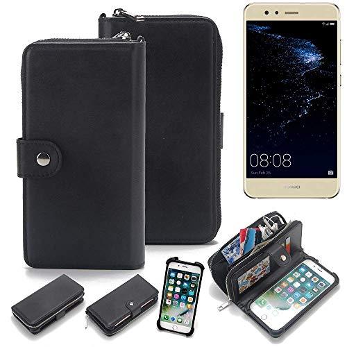 K-S-Trade 2in1 Handyhülle Für Huawei P10 Lite Dual-SIM Schutzhülle und Portemonnee Schutzhülle Tasche Handytasche Hülle Etui Geldbörse Wallet Bookstyle Hülle Schwarz (1x)