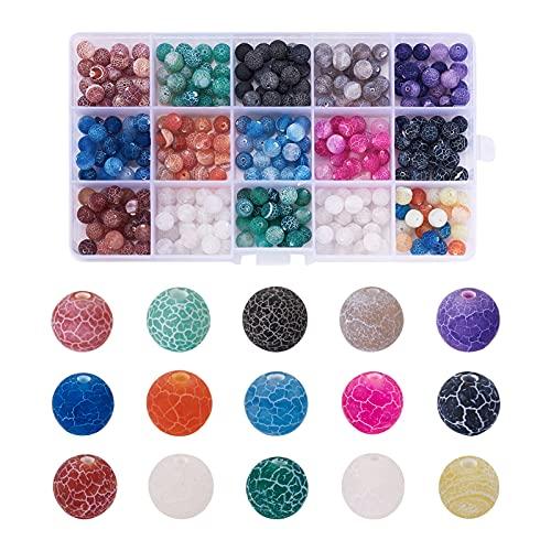 Fashewelry 300 cuentas redondas de ágata craquelada natural, 15 colores, bolas esmeriladas, 8 mm, para hacer pulseras, collares, joyas, manualidades, agujero: 1 mm