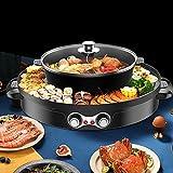 Hot Pot y parrilla de barbacoa, Hot Pot: 2200 W/29 cm de diámetro, placa de parrilla: 44 cm de diámetro, elemento calefactor de aluminio, circuitos de calefacción regulables por separado, color negro