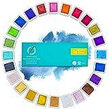 Apolo Arte Acuarelas Metalizadas - Juego de Acuarelas Profesionales | Incluye 24 Colores Metálicos Premium | Paleta Acuarela Brillante Para Artistas