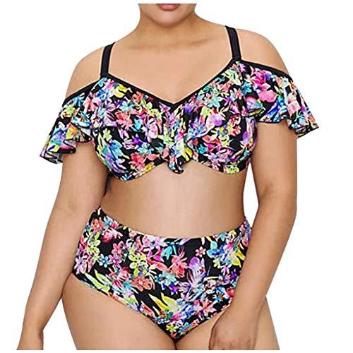 LOPILY Bandeau Bikini Set Damen Große Größen Blumenmuster Hippie Strandmode mit Schößchen Push Up Bademode Shaping Baderock Schwangerschaft Bademode Swimwear (Mehrfarbig, 3XL)