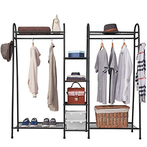 Estoder Clothing Garment Rack Metal Clothes Rack with Shelves Wire Shelving Closet Wardrobe Rack with Double Hanger Rods and Coat Hooks for Indoor Bedroom Free Standing amp Large Capacity Black