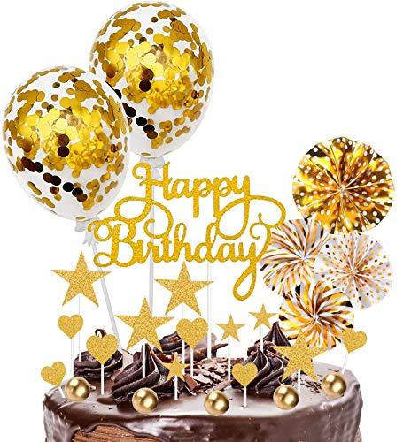 Xinmeng Gold Tortendeko 25Pcs Cake Topper Konfetti Ballon Geburtstag Kuchen Topper Kuchendekoration Geburtstag Torte Topper Kuchen Deko für Junge Geburtstag mit Sternen und Papierfächer