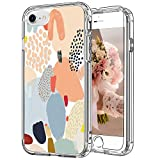 ICEDIO iPhone SE Case 2020,iPhone 8 Case,iPhone 7 Case with Screen Protector,Clear with Multi-Colored Painting Patterns for Girls Women,Shockproof Protective Phone Case for iPhone 7/8/SE2