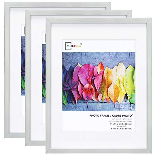 Picture Frames 11x14 Silver, with 8x10 Mat, 3 Pack