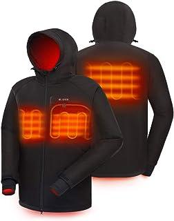 IHAYNER Men`s Soft Shell Heated Jacket with Battery Pack and Hood Dual-Zipper Multi-Pockets Waterproof Warm Winter Jackets - M