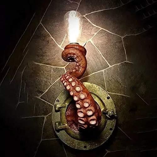 Luz eléctrica Retro del Pulpo, Bombilla del Monstruo del tentáculo del Pulpo Que cuelga en la lámpara del tentáculo del Pulpo de la Pared para la decoración del Arte de la Pared (Red)