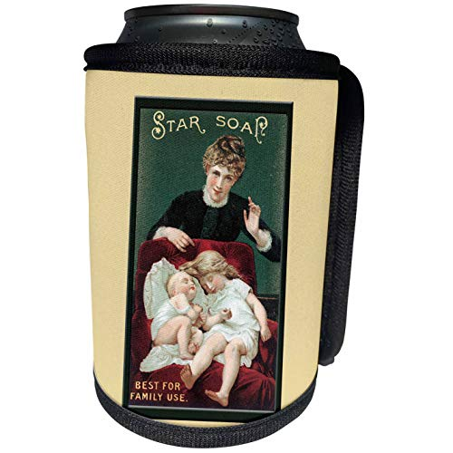 3dRose BLN Vintage Trade Cards Featuring Children Advertising Art - Star Soap Best for Family Use Victorian Era Woman, Small Girl and Baby in a Red Chair - Can Cooler Bottle Wrap (cc_156866_1)