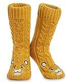 Disney Calcetines Antideslizantes Invierno Mujer Con Personajes Stitch Mickey Minnie, Zapatillas de Punto Forro Polar Para Estar Por Casa, Regalos Para Mujeres Chicas (El Ray León)