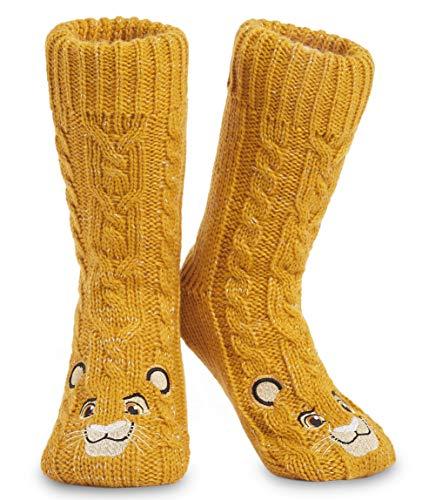 Disney Calcetines Antideslizantes Invierno Mujer Con Personajes, Zapatillas de Punto Interior Forro Polar Para Estar Por Casa, Regalos Mujer (Amarillo)