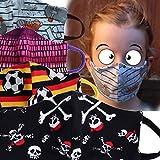 Wende-Mund-Nase-Bedeckung, Behelfsmaske, Gesichtsmaske Kinder (7-12), handmade, Baumwoll-Jersey, 2-lagig, waschbar, verschiedene Designs