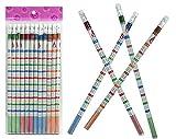 12er Set Bleistifte mit Radiergummi, mit dem kleinen Einmaleins, zum Rechnen, Üben