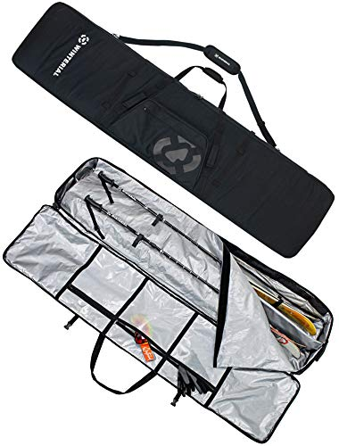 Winterial Rolling Double Ski Bag Travel Bag with 5 Storage Compartments and Reinforced Double Padding Perfect for Road Trips and Air Travel/Fits 2 Sets of Skis