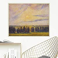 キャンバスプリントカミーユピサロ《エラニーの夕日》キャンバスアート油絵有名なアートワーク写真ポスター家の装飾50x70cmフレームレス