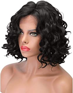 Natural Hair Lace Front Wigs Synthetic for Women Glueless Synthetic Black Hair Body Wave Short Cut Wigs L Parting Half Tie...