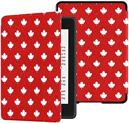 Funda para el Nuevo Kindle Paperwhite Funda de Tela Resistente al Agua (10.a generación, versión 2018), Funda para Tableta con Papel Tapiz de símbolo de Canadá con Textura de Hoja de Arce