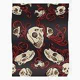 Animals Realism Filigree Gothic Tattoo Skull Skulls Semi Animal Impressive and Trendy Poster Print Decor Wall or Desk Mount Options