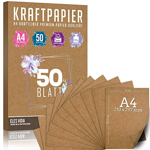hojas de papel Kraft A4 Set - 260 g - 21 x 29,7 cm - Formato DIN Papel artesanal y cartulina natural Cartón Hojas de papel Kraft para imprimir, Papel de cartulina Elaboración de etiquetas (50 hojas)