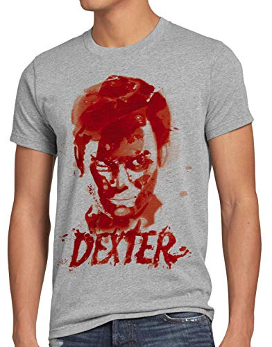 style3 Dexter Blutspur T-Shirt Herren Serie Mord Morgan Trinity serienkiller, Größe:L, Farbe:Grau meliert