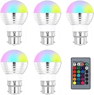 SGJFZD 5PCS 85-265V 110V 220V B22 RGB LED Light Bulb 16 Color Changeable Magic LED Night Light LED Lamp Dimmable Stage Lig...
