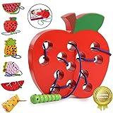 Sunshine smile Holz fädelspiel Apfel,einfädeln Spielzeug,Montessori Spielzeug Holz,Threading-Spiele,Reise Spiel frühes,motorikspielzeug,fädelspiel für Baby Kinder