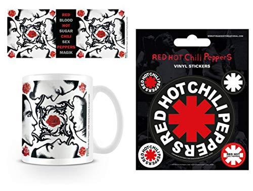 1art1 Red Hot Chili Peppers, Blood Sugar Sex Magik Foto-Tasse Kaffeetasse (9x8 cm) Inklusive 1 Red Hot Chili Peppers Poster-Sticker Tattoo Aufkleber (12x10 cm)