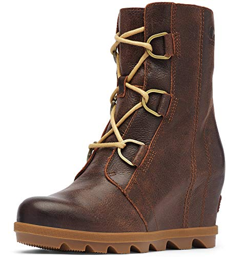 Sorel - Women's Joan of Arctic Wedge II, Leather or Suede Ankle Boot with Laces, Burro, 8.5 M US