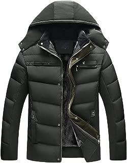 Men Boys Casual Warm Thick Hooded Coat Winter Long Sleeve Zipper Big Fur Collar Coat Outwear Jacket Top Blouses