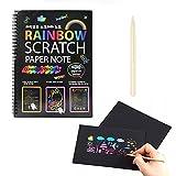 THETHO 30 Hojas Scratch Art Cuadernos para Rascar Dibujar Papel de Rascar Incluye 6 Cubiertas de Color y 3 Lápices de Madera, Manualidades para Rascar para Adultos y Niños Dibujar
