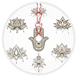 ZVEZVI Lotus Flower Hamsa Set Falda de árbol de Navidad con borlas Boho con Adorno de Pompones Regalo para Navidad Año Nuevo Fiesta de Vacaciones Falda de árbol Decoración Interior al Aire Libre