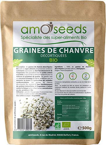 Graines de Chanvre Décortiquées Bio 500G   Origine EU, Protéines végétales, Anti-fatigue   Qualité Supérieure