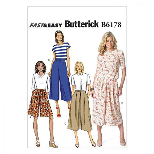 Butterick Schnittmuster 6178 Damen Hosenrock in 4 Verschiedenen Varianten