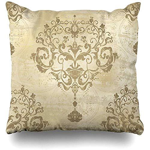 Fundas de cojín de plata brillante Damasco moderno Patrón floral Vintage Rococó Royal Oro antiguo Barroco Antiguo Funda de cojín de decoración del hogar 45X45Cm Sofá Funda de almohada