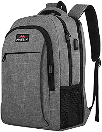 MATEIN 17 Inch Laptop Backpack, TSA Large Backpack for Travel and Business with USB Charger Port, Water Resistant Big Flight Approved Weekender Carry-On Backpack with Luggage Sleeve for Women and Men