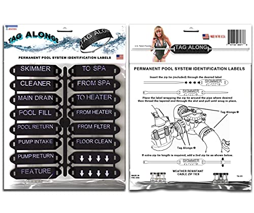 Tag Alongs Swimming Pool & spa Raised I.D. Plumbing Identification Label System. USA Made