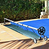 charaHOME Pool Cover Reel Set for Inground Swimming Pool 18FT Swinming Solar Cover Reel Above Ground Pool Stainless Steel Black
