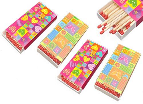 jameitop®🔥 Streichholzschachteln 4 X 48er Packungen 10cm mit Herzen/Schmetterling/Blumen Design Streichhölzer Zündhölzer