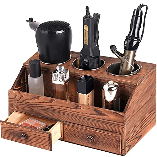 SEKAM Wood Hair Tool Organizer with Drawers - Hair Blow Dryer Holder - Flat/Curling Iron Holder - Hair Styling Tools & Accessories Organizer - Large Bathroom Hair Vanity Accessories Organizer Brown