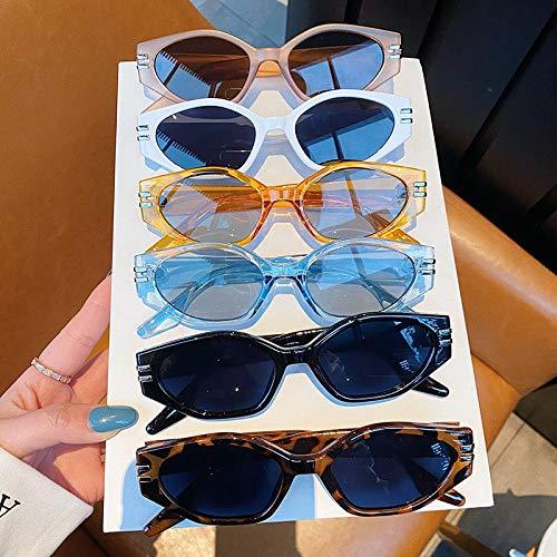 TEYUN Así y eifashion Gafas de Sol Irregulares de Gato Irregular Mujeres Vintage Oval Azul té Gafas Hombres Tonos UV400 Gafas de Sol (Color : Note Color)