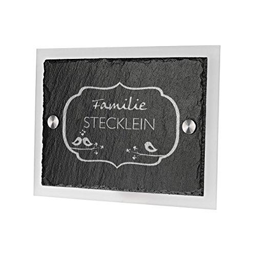 Ardoise plaque de porte avec verre acrylique avec gravure personnalisée motif vintage vögelchen