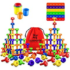 😃 POPULAR MONTESSORI OCCUPATIONALTHERAPY METHOD - Your toddleror preschooler willenjoythe thrill of stacking the different colored pegs, while at the same time use it as an Early Learning Educational experience 👀 DEVELOP & STRENGTHEN FINE MOTOR S...