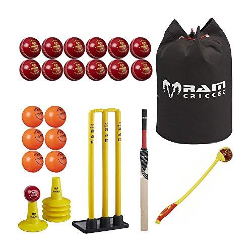 RAM Cricket Profi Coaching Set - Bälle, BAT, Stumps, Tees, Tasche Senior-größe