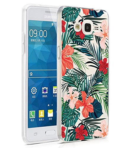 BAISRKE Galaxy Grand Prime Case, Galaxy J2 Prime Case with Flowers Slim Shockproof Clear Floral Pattern Soft Flexible TPU Back Cove for Samsung Galaxy Grand Prime G530/J2 Prime [Palm Tree Leaves]