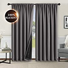 WONTEX 100% Grey Blackout Curtains for Bedroom 42 x 84 inches Long - Thermal Insulated, Noise Reducing, Sun Blocking Lined Rod Pocket Window Curtain Panels for Living Room, Set of 2 Winter Curtains