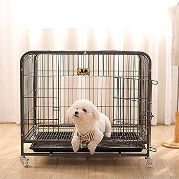 Chenils Cages Cage pour Chien Cage avec Toilette Gros Chien Adulte Chien de Taille Moyenne clôture clôture Chien Grand Chien Husky Convient pour Poids 15kg 20kg Cages (Color : Black, Size : L)