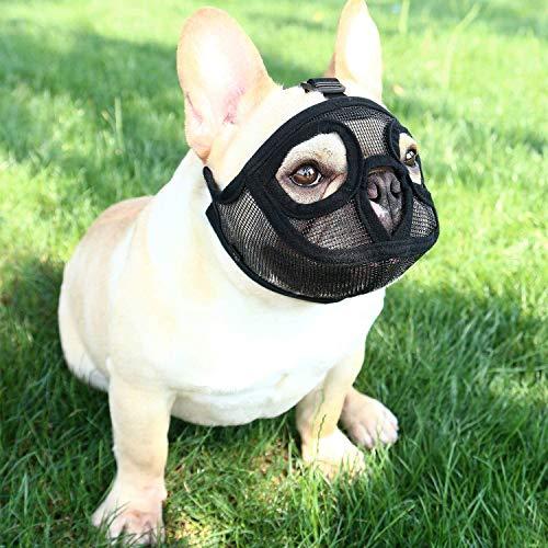 IBLUELOVER Maulkorb für Hunde mit kurzem Schnauze, verstellbar, atmungsaktiv, für Pitbull, Boston Terrier, Chow Chow Chow Chow zum Beißen, Kauen, Bellen und Training