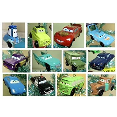 Cars 14 Piece Holiday Christmas Tree Mini Ornaments Set Featuring Luigi, Guido, Sheriff, Sally, The King, Flo, Chick Hicks, Hudson Hornet, Filmore, Ramone, Sarge, Mack, Lightning McQueen, and Mater Ornaments